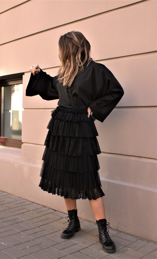 Lace Ruffle Midi Skirt - Black